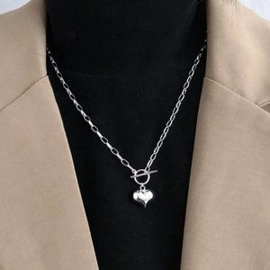 *NEW 925 Sterling Silver Heart Link Chain Necklace